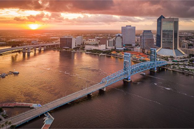 An aerial view of Jacksonville in Florida at sunset