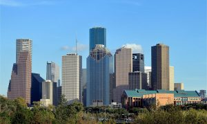 View of the downtown Houston TX skyline