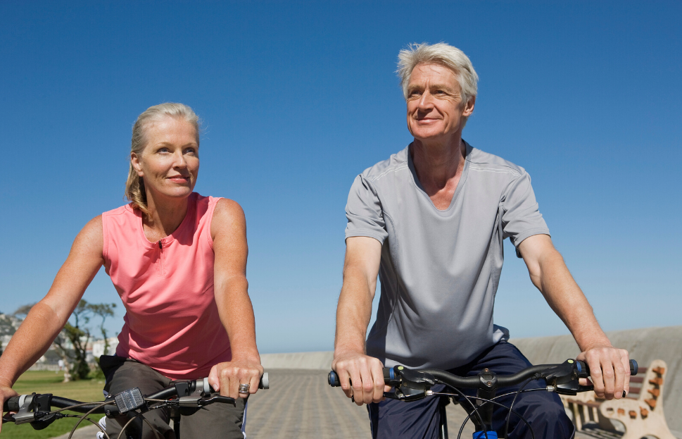 An older Bakersfield couple riding bikes