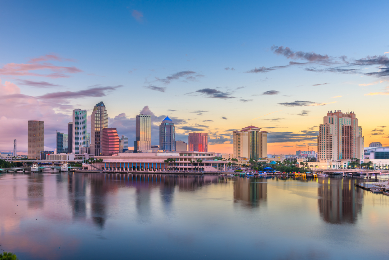 Skyline view of the bay and downtown Tampa in Florida