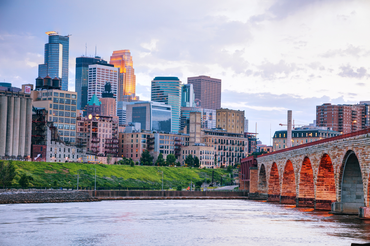 View of downtown Minneapolis, MN at sunset