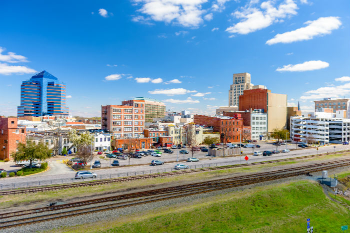 View of downtown Durham in North Carolina