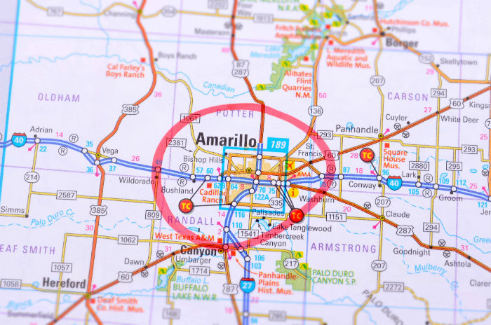 Amarillo Texas on a map