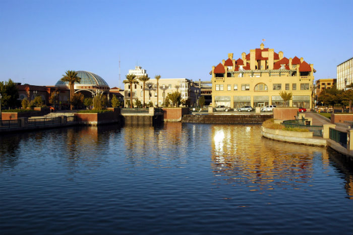 View of the waterfront cityscape in Stockton, CA