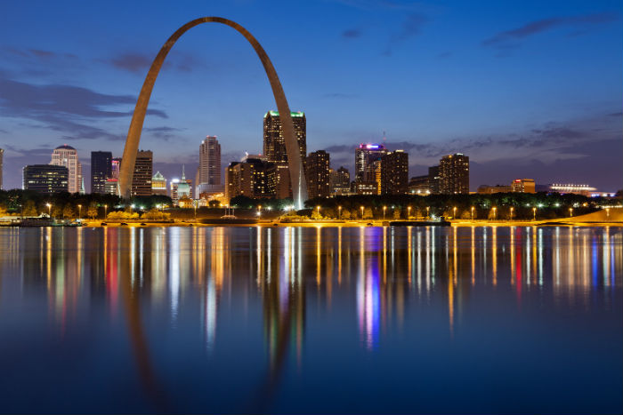 Evening view of downtown St. Louis in Missouri