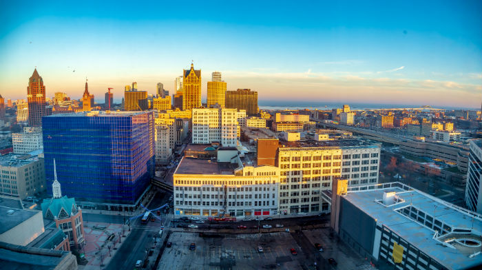 Aerial view of downtown Milwaukee, Wisconsin