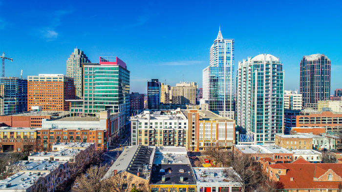 Drone view of downtown Raleigh in North Carolina