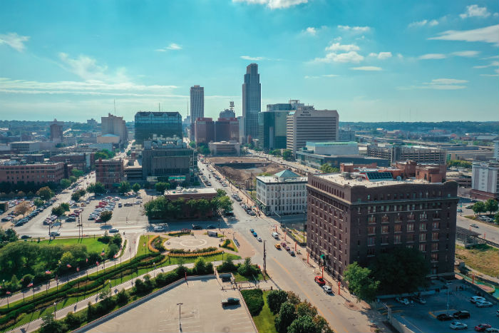 Aerial view of downtown Omaha, NE