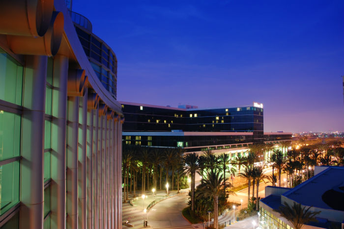 A view of Anaheim, CA buildings at night