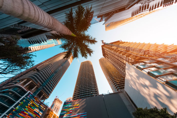 View of Miami buildings from the ground looking up