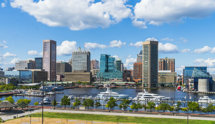View of the Baltimore, Maryland city skyline