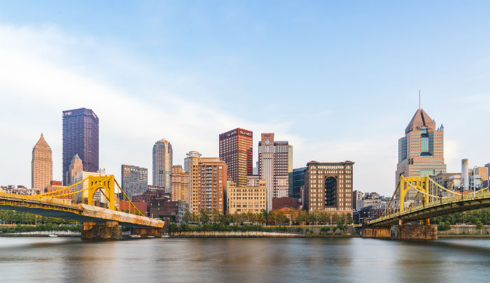 Aerial view of downtown Pittsburgh in Pennsylvania