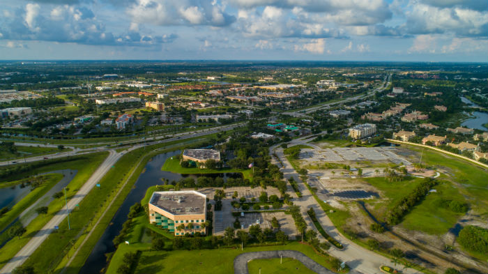 Aerial view of Port St Lucie in Florida
