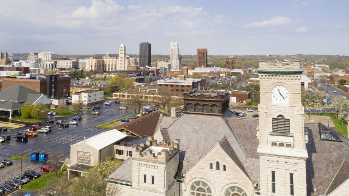 View of downtown Akron in Ohio