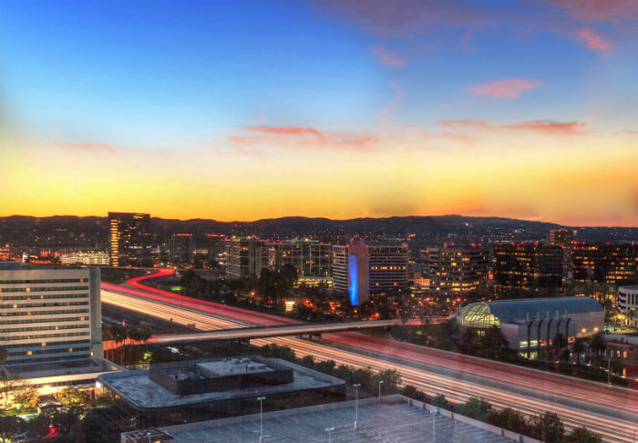 A view of Irvine in California at sunrise