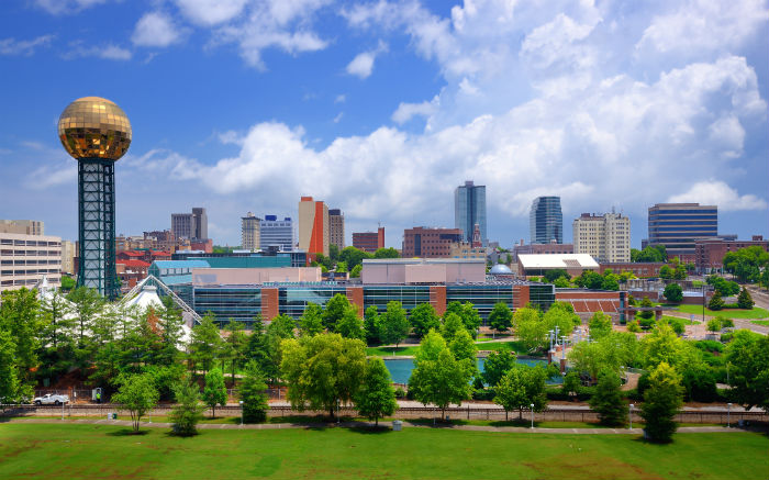 Cityscape of downtown Knoxville in Tennessee
