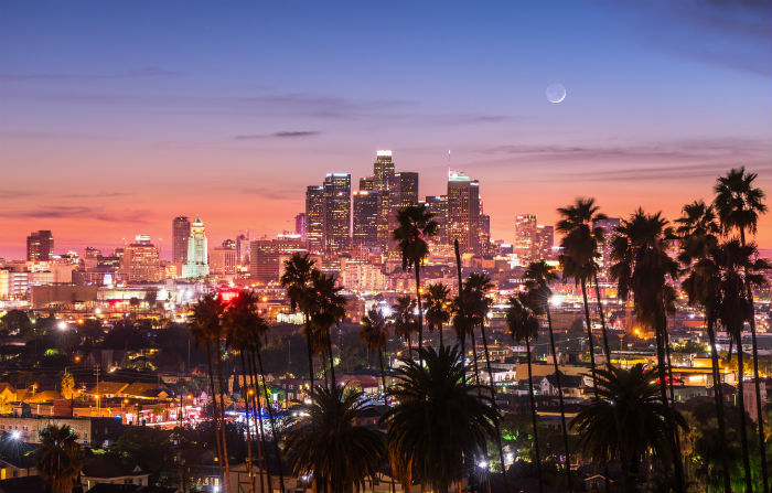 View of Los Angeles California during sunset