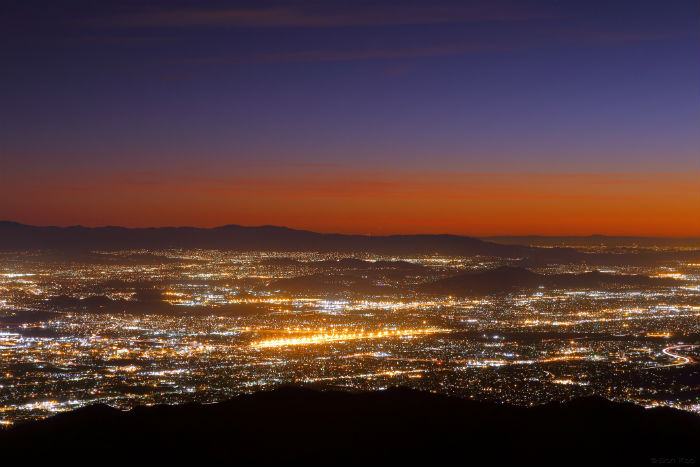 View of San Bernardino California at night