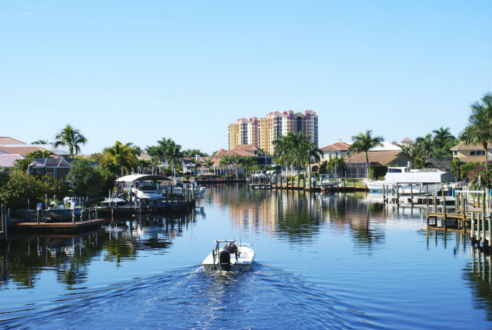 View of a boat dock in Cape Coral Florida