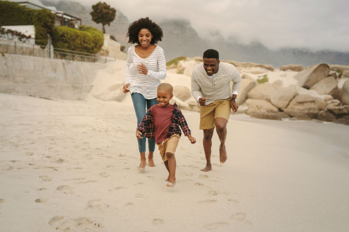 A Los Angeles family playing on the beach