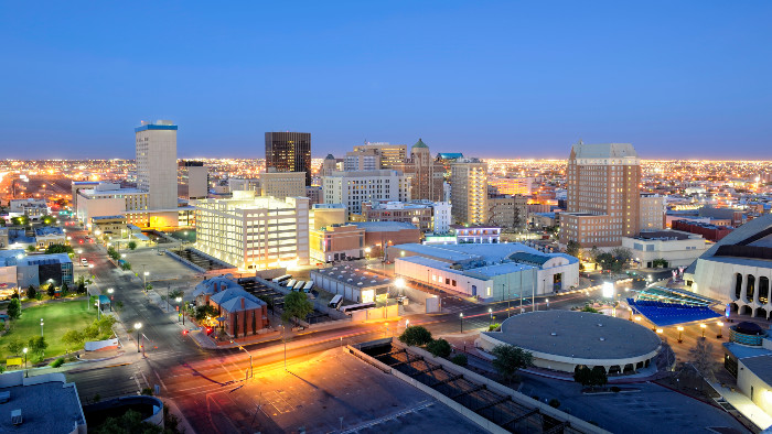Aerial view of the El Paso city skyline in Texas