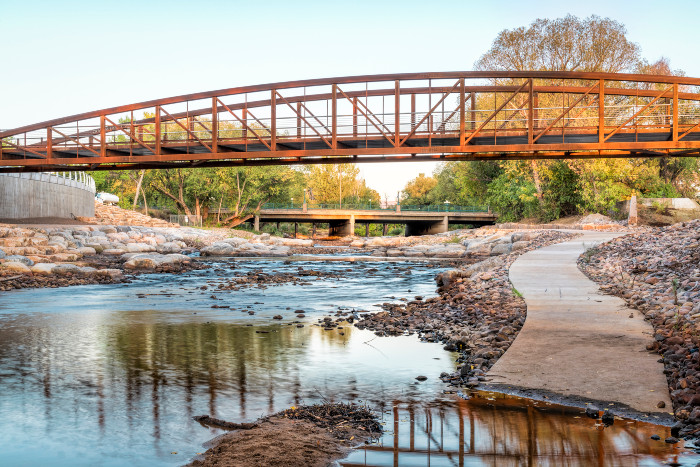 A river & bridge in Fort Collins, CO