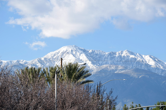 View of the snowtop mountains from Ontario California