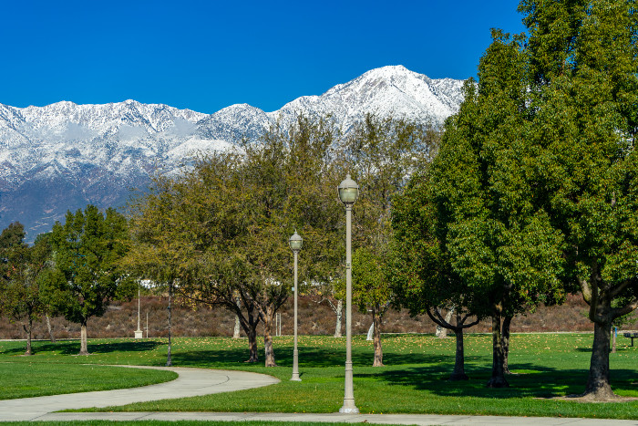 Rancho Cucamonga park with view of snowtop mountains