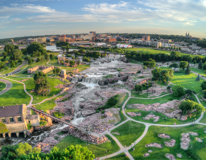 Aerial view of Sioux Falls in South Dakota
